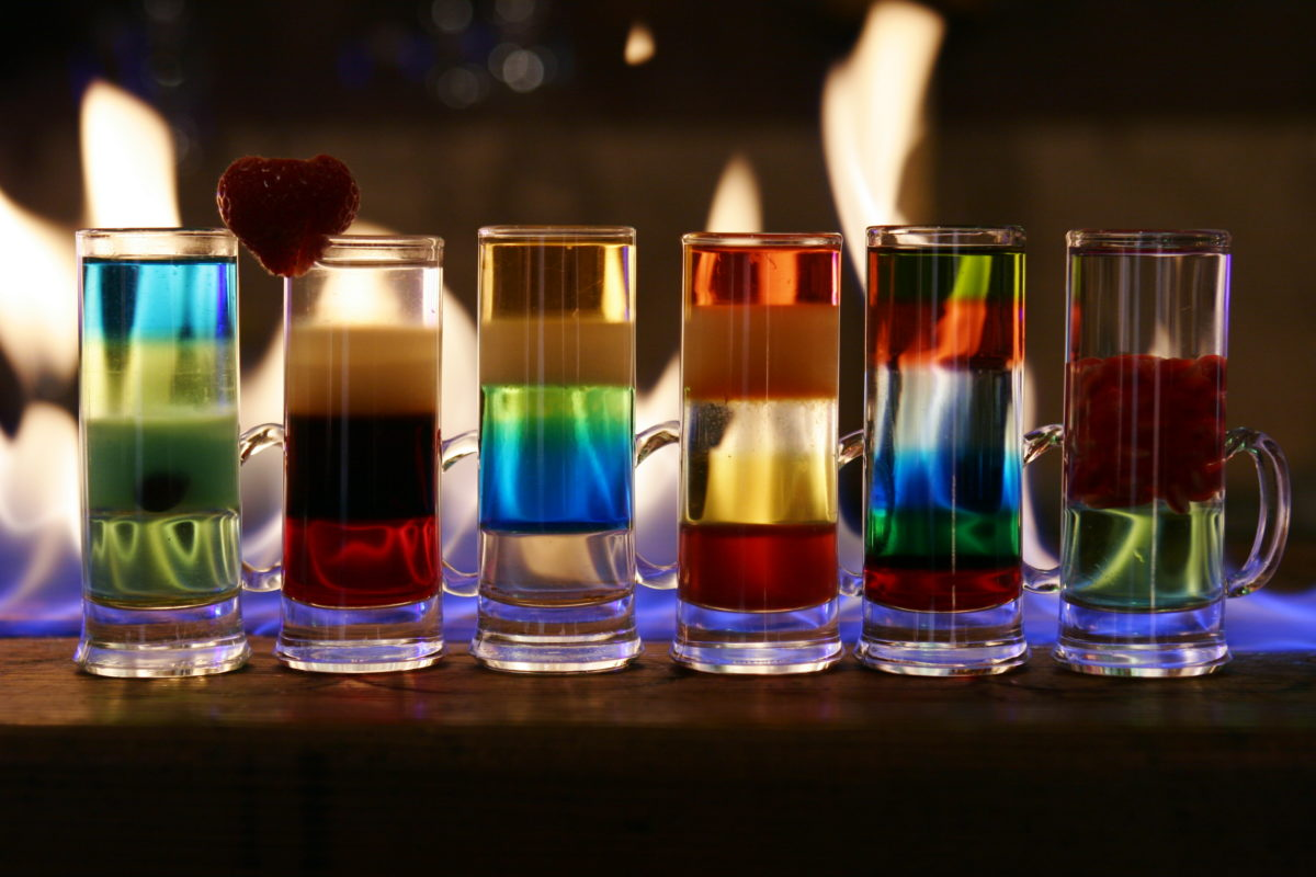 приготовление шотов: таблица плотности алкогольных напитков